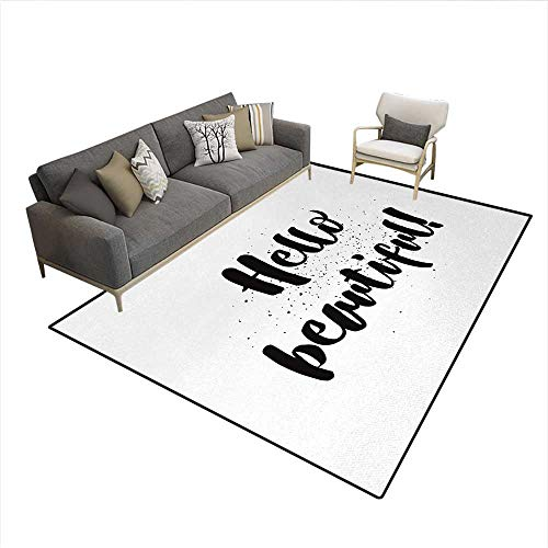 Carpet,Hand Drawn Lettering Design Romantic Inspirational Quote Print in Black on Tiny Dots,Rug Kid Carpet,Black WhiteSize:6'6