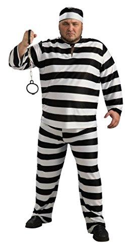 Adult Full Figure Plus Size Convict Costume - Prisoner Jailbird (Jailbird Adult Costume)