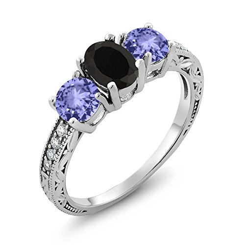 Gem Stone King 1.84 Ct Oval Black Onyx Blue Tanzanite, used for sale  Delivered anywhere in USA