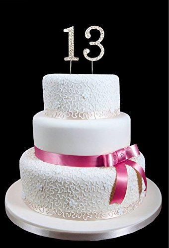 Amazon 13th Birthday Wedding Anniversary Number Cake Topper With Sparkling Rhinestone Crystals
