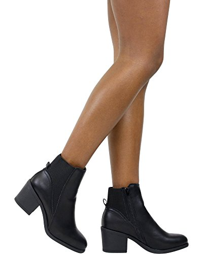 Bamboo Womens Stretch Gore Heel Bootie (Available In 2 Colors) Black urUh0cEYsQ