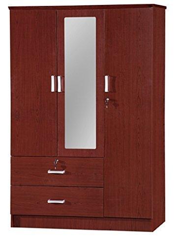 Door 2 Drawer Wardrobe (3 Door Wardrobe W/2 Drawers & Mirror - Beech)