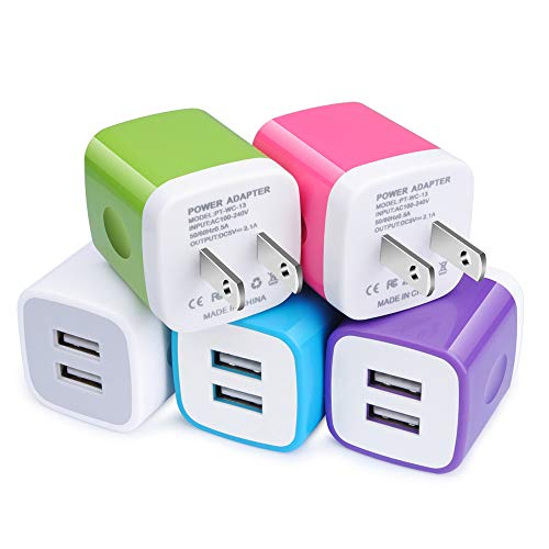 (USB Wall Charger, Charger Adapter, Charging Plug, 2.1A 5 V Charger Block Portable Rapid Power Cube Compatible with iPhone Xs Max/Xs/XR/X/8/7/6S/6 Plus, Galaxy S10/S10e S9/S8/Plus S7/S6/Edge, LG, HTC)