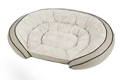 Sterling Premium Cooling Gel Memory Foam Pet Bed, Plush with Woven Linen, Beige