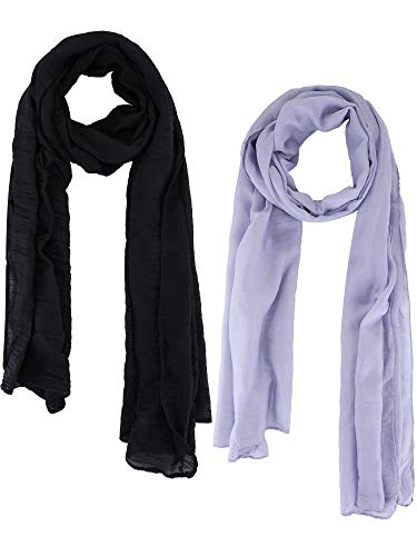 Blulu 2 Pieces Women Cotton Scarf Lady Light Soft Solid Scarf Wrap Large Sheer Shawl Wraps for Adult Kids Using (Black, Light Gray)