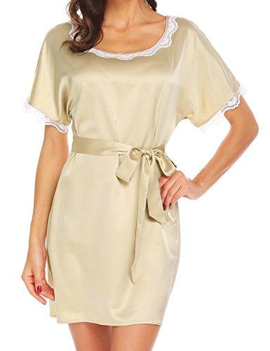 Adidome Women Plus Size Sleepwear Sexy Lingerie V-Neck Nightgown Short Skirt Silk Lace Pajama Dress(White,XL)