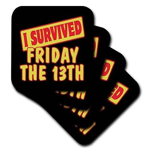 3dRose CST_117935_2 I Survived Friday The 13th Survial Pride and Humor Design Soft Coasters, Set of 8 ()