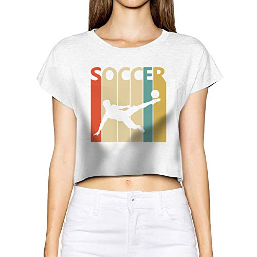 Woman's Basic Short Sleeve T-Shirt Vintage Retro Soccer Player Sexy Bare Midriff Crop Top White