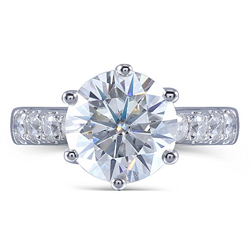 TransGems 2ct Center 8mm H Color 2.6mm Width Moissanite Engagement Ring Solitare with Accents Platinum Plated Silver