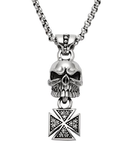 Wildthings Ltd Sterling Silver Skull & Dangling Cross Pendant w/Faceted Crystals & 24