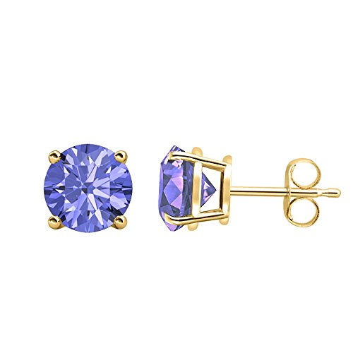 Round Cut Created Tanzanite (6MM) Solitaire Stud Earrings 14K Yellow Gold Over .925 Sterling Silver ()