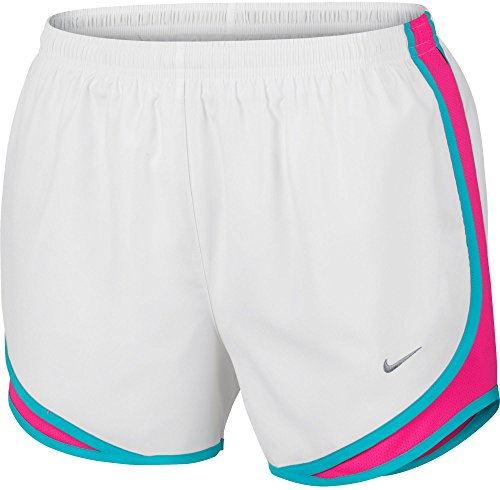 NIKE Printed Tempo Running Shorts (White/Hyper Pink, X-Small)