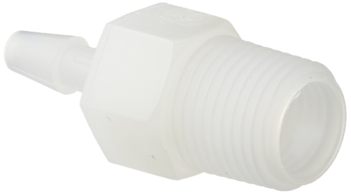 Eldon James A2-2NN Natural Nylon Adapter Fitting, 1/8-27 NPT to 1/8'' Hose Barb (Pack of 10) by Eldon James
