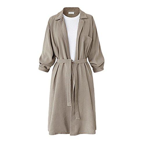 Lapel Color Solid sleeve White Coat Women Belt Windbreaker Rice DYF FYM Size Big Long XXL COAT PYwXqUSxz