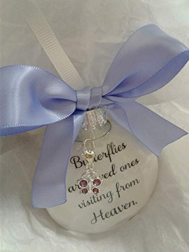 Memories Americana - Sympathy Gift Butterflies from Heaven In Memory of Loved One Memorial Christmas Ornament w/Purple