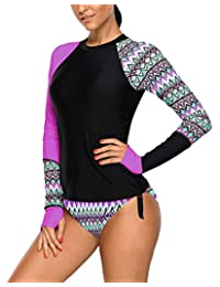 Mingnos Women's Printing Long Sleeve Rashguard Shirts Stretch Athletic Swimsuit