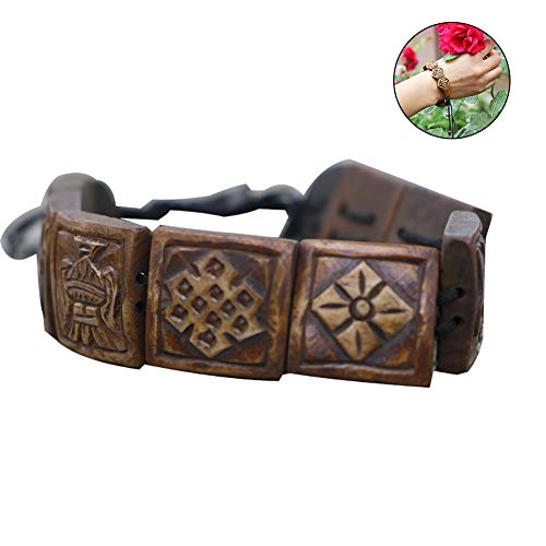 Domccy 1Pc Tibet Carved Antiqued Nepal Yak Bone Bracelet with Eight Treasures Lucky Pattern Tibetan Embedded Yak Bone Medicine Wrist Vintage ethnic style Bracelet Meditation Healing Prayer Beads