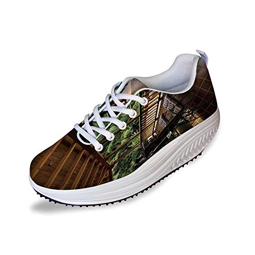 Patio Decor Stylish Shake Shoes,Sub Tropical Wooden Terrace Near Bushes and Grass Villa Yard Lifestyle for Women,6