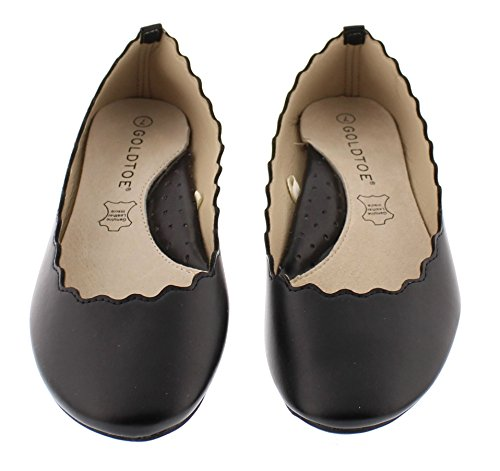 Women's Closed Leather Toe Dress Black Support Lotta Arch Shoes Round Scalloped With Toe Ballet Gold Faux Flats AT0S5wxR5q