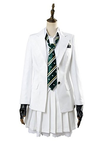 Womens PUBBG Corp Japanese High School Uniform Pleated Skirts Cosplay Costumes White