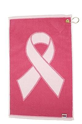 JP Lann Golf Pink Ribbon Breast Cancer Awareness Golf Towel, White/Pink, 16 x 24-Inch