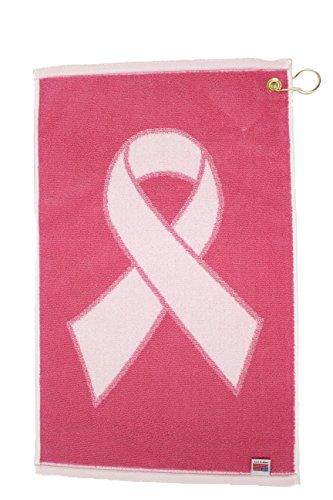 JP Lann Golf Pink Ribbon Breast Cancer Awareness Golf Towel, White/Pink, 16 x 24-Inch by JP Lann Golf