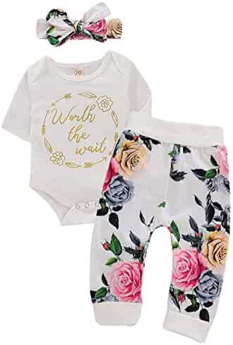 79ecae696b7b1 Little Baby Girl Newborn Bodysuit Outfit Worth The Wait Print Romper Top+Floral  Legging Pants