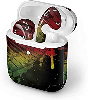 Slim Form Fitted Printing Pattern Cover Case with Carabiner Compatible with Airpods 1 and AirPods 2 Marijuana Weed Leaf On Rasta Colors Stripes