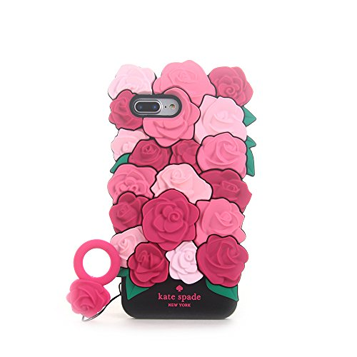 CASESOPHY Pretty 3D Rose Case for iPhone 7+ 7Plus / 8+ 8Plus Large Size 5.5 Screen Soft Silicone Rubber Delicate Chic Cute High Fashion Premium for Girls Women Gift