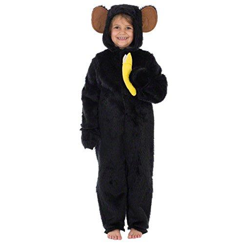 Chimpanzee or Monkey Costume for Kid 9-11 Years Black ()