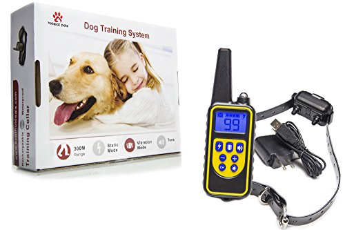 Waterproof Dog Training Collar, Rechargeable Remote Controlled Dog Shock Collar W/100 Levels of Vibration & Static Shock for Small Medium and Large Dogs