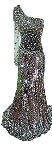 One Pailletten Damen Banquet emmani Silber Diamant Ballkleid Shoulder q5Z7WxU