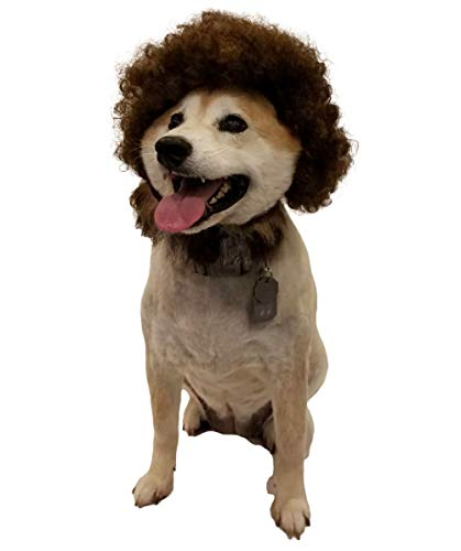 Halloween Party Online 80's Painter Afro Wig with Only Beard Set for Pet Brown HP-019 -