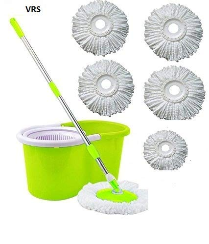 VRS Microfiber Magic Spin Mop Double Drive Hand Pressure Bucket with 5 Head Household Floor Cleaning and Soap Dispenser (Colour May Vary)