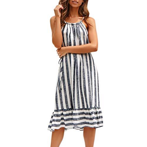 Tronet Women Party Dresses Sexy,Fashion Womens Casual Sleeveless Ladies O-Neck Bandage Stripe Printed Long ()