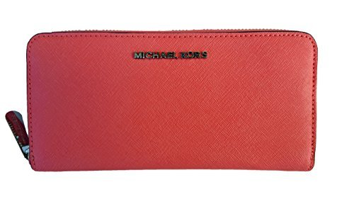MICHAEL Michael Kors Jet Set Travel Zip Around Continental Saffiano Leather Wallet (One Size, Coral) by Michael Kors