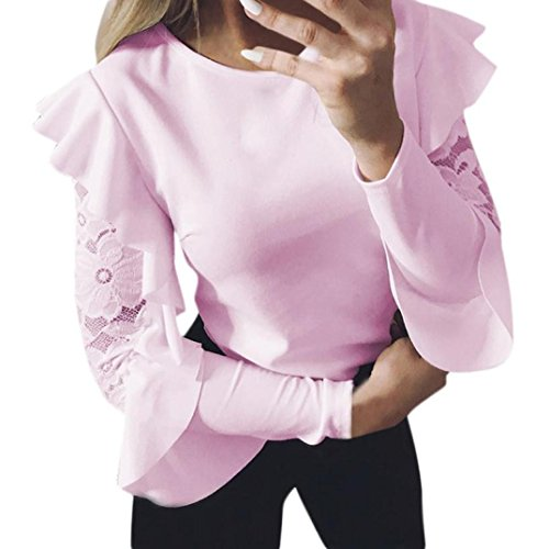 iTLOTL Women's Solid Long Sleeve Lace Stitching O-Neck T-Shirt Pullover Tops Blouse(US:14/CN:XL, Pink)