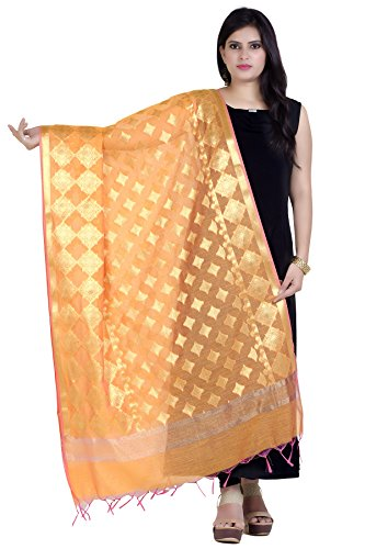 Chandrakala Women's Handwoven Orange Zari Work Banarasi, used for sale  Delivered anywhere in USA