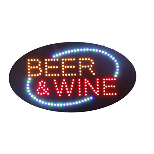 LED Beer Bar Wine Liquor Spirits Open Light Sign Super Bright Electric Advertising Display Board for Pub Club Bistro Business Shop Store Window Bedroom (Red, 27 x 15 inches) -