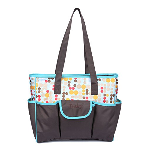 DIYNP Stylish Womens Nappy Baby Diaper Changing Tote Satchel Shoulder Bag for Girls and Boys Large Capacity with Changing Pad (Blue)