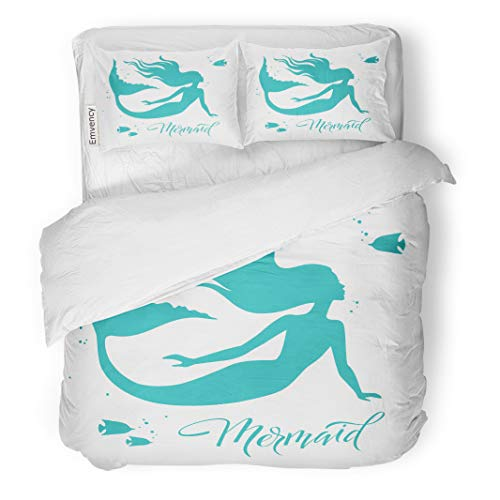 (Semtomn Decor Duvet Cover Set Twin Size Blue Tail Mermaid Silhouette White Fantasy Figure Beauty Curve 3 Piece Brushed Microfiber Fabric Print Bedding Set)