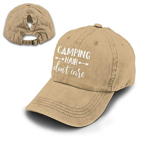 Splash Brothers Customized Unisex Camping Hair Don't Care Vintage Adjustable Baseball Cap Denim Dad Hat (Ponytail Natural, One Size)