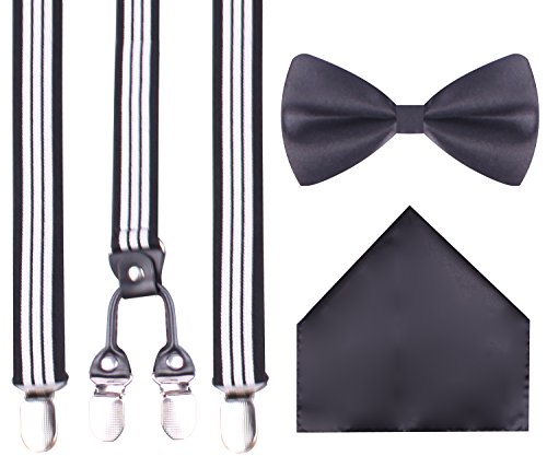 Stripes Costume And Black White (DIDK Black leather suspenders striped suspenders black bow tie elastic Black)