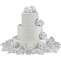 White Silk Rose Cake Flowers - Reception Decoration