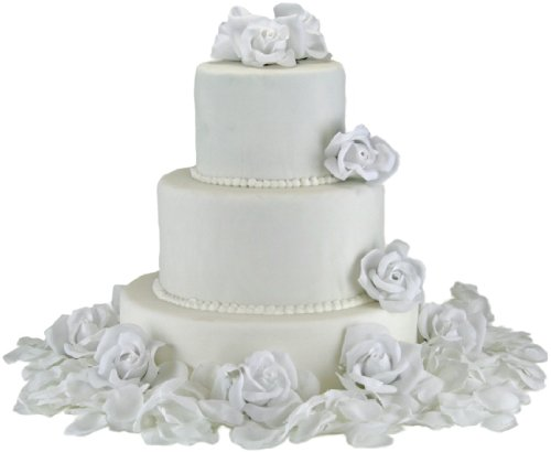 White Silk Rose Cake Flowers - Reception Decoration