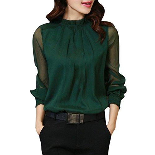 en Chemise Taille T Maille Manches Soie Mousseline Chemise de de Volants Femme Grande Shirt kingwo col en Elgante Longues Vert E8AwznqB