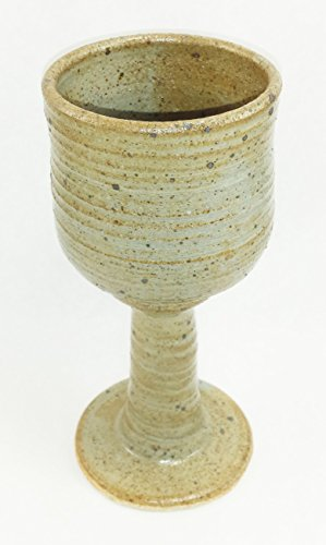 (Aunt Chris' Pottery - Hand Made Clay - Ample Celtic Goblet/Chalice - Grey & Tan Colored - Beautiful to Display and Marvelous to Use - Food, Microwave, Oven And Dishwasher Safe)