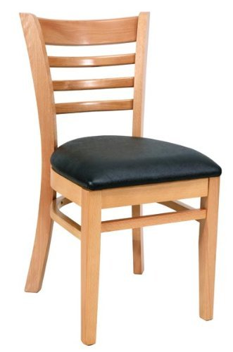 Royal Industries Ladder Back Chair, Natural Finish, Black Up