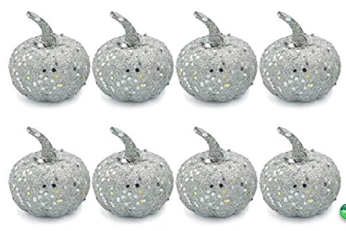 Nice purchase Realistic Fake Artificial Small Pumpkins for Decor Halloween Fall Harvest Thanksgiving Party DIY Craft (Silver -