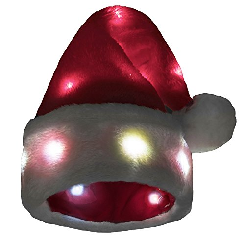 [Funny Santa Hat with 20 Blinking Color-changing Light up LED Lights - Soft Plush Faux Fur for Adults and] (Crazy Christmas Hats)